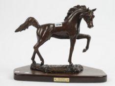 A modern patinated bronze horse 'The Arabian' by Dick Sloviaczek,