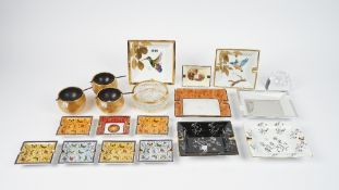 A collection of modern porcelain, crystal and metal ashtrays including Limoges, (qty).