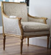 A pair of Louis XVI style giltwood bergere chairs, 87cm high, (2).