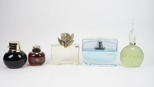 Five large perfume bottles for advertising purposes, comprising; 'Duende', 'Trussardi Jeans', 'YSL',