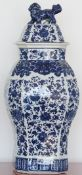 A pair of modern blue and white octagonal baluster vases and covers, 60cm high, (2).
