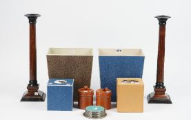 A blue shagreen covered wooden waste bin of rectangular tapering form, another similar, 26cm high,