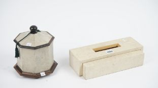 A modern white shagreen and sandalwood tissue box case of contemporary rectangular form,