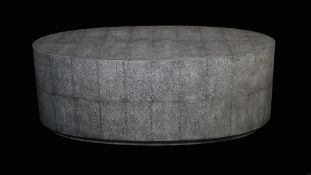 A modern faux shagreen oval coffee table, 122cm wide x 45cm high.