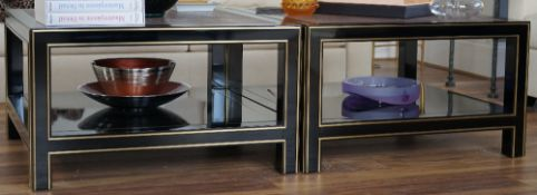A pair of gilt metal ebonised square low tables, each with a shagreen top, 85cm wide x 49cm high,