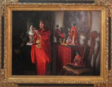 Douglas Hoffman, (contemporary), an Oriental interior, oil on board, signed, 80cm wide x 109cm high.