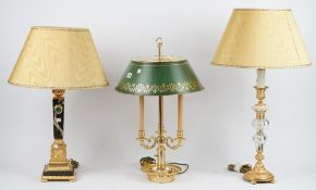 A Victorian style gilt metal boulliotte table lamp with adjustable green tin shade, 65cm high,