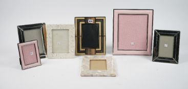 A group of modern decorative photograph frames, including shagreen and leather examples, (qty).