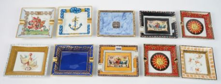 A group of decorative French ceramic ashtrays, Limoges and others.