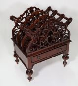 A Victorian style mahogany three division Canterbury with single drawer, on turned supports,