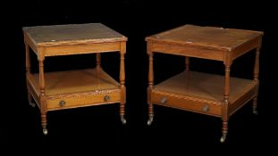 Martin J Dodge; a pair of stained beech two tier square side tables with single drawer to undertier,
