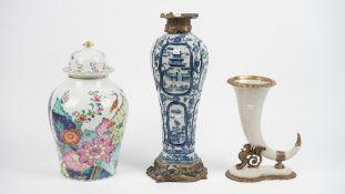Vista Alegre, a Portuguese porcelain vase and cover 'Mottahedeh' pattern, 40cm high,