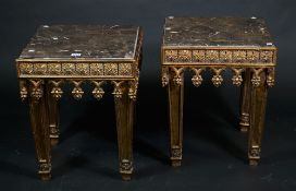 A pair of Regency style giltwood low side tables,