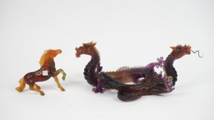 A modern Daum coloured glass dragon group modelled as two dragons chasing a flaming pearl,