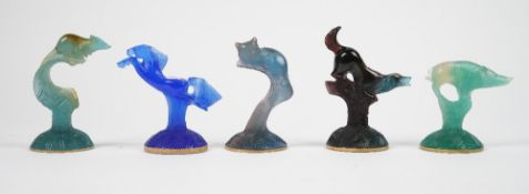 Five modern Daum coloured glass animals, comprising; a horse, a cat, mouse, wild boar and a dog,