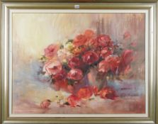 Marietta Meyer, Still life of roses, oil on board, signed lower right, 75cm x 101cm.