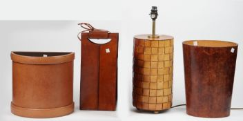 Modern leather comprising; a cylindrical table lamp, 32.