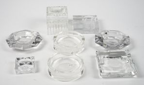 A group of modern glass ashtrays including; Ralph Lauren, Val Saint Lambert and others, (8).