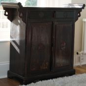 A modern South East Asian side cabinet, with two drawers over cupboard, 177cm wide x 105cm high.