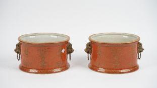 A pair of modern Thomas Goode pottery jardinières,