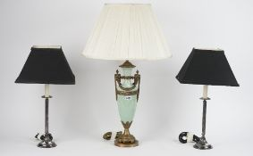 A pair of Victorian style silver plated candlestick lamps,