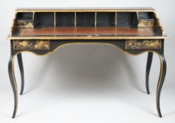 A modern chinoiserie decorated writing desk, with two frieze drawers, on sabre supports,