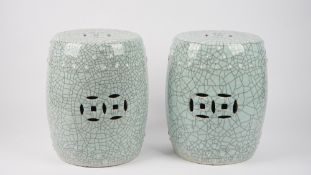 A pair of modern turquoise glazed Chinese barrel seats, 39cm high.
