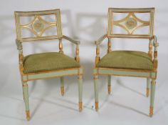 A set of six Italian cream painted and parcel gilt decorated open armchairs,