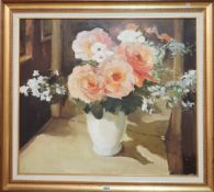 Ruth Squibb (1928-2012), Still life of roses, oil on board, signed, 72cm x 81cm.