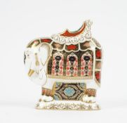 A Royal Crown Derby Imari decorated 'Elephant' paperweight, gold button to base, red printed marks,