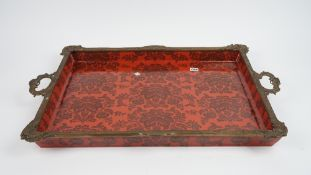 A pair of modern porcelain and gilt metal mounted, twin handled trays,