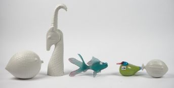 A group of modern decorative ceramic and glass animal models,