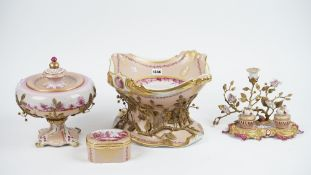 Mangani, Italy, a porcelain centrepiece bowl, modern, detailed in pink with landscape scenes,