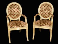 A pair of Louis XVI style giltwood fauteuils on fluted outswept supports, 56cm wide x 103cm high,
