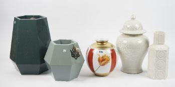 A group of decorative modern vases, including a 'Misencen' France ovoid vase, (5).