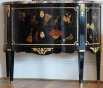 A Louis XVI style ormolu mounted, chinoiserie decorated, black lacquer commode,
