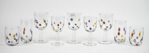 A part suite of Murano style glasses,