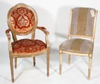 Lucca de Creazioni Davi, a Louis XVI style open armchair, with gilt velvet upholstery,