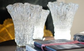 A group of three Whitefriars style glass vases, the tallest 35cm high.