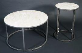 A modern marble topped circular coffee table on tubular metal base,