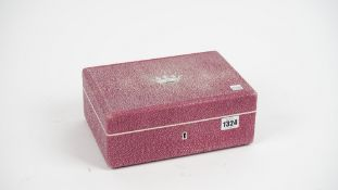 A French pink shagreen jewellery box, modern, with hinged lid and suede lined tray to the interior,