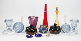 A group of modern glasswares, including; a pair of Tiffany & Co candlesticks,