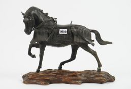 A Japanese patinated bronze horse, Meiji period, silver signature panel to base,
