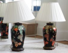 A pair of decoupage effect lamps, 69cm high, (with shades).