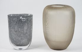 A Whitefriars style ovoid glass vase, 40cm high, together with a smoked glass vase, 46cm high, (2).