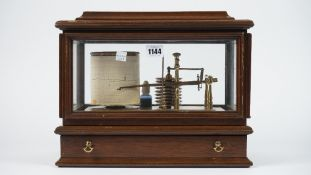 A modern mahogany cased barograph, with single frieze drawer, 35cm wide.