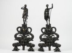 A pair of Victorian style patinated figural chenets, modelled as Diana the Huntress and David,