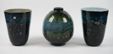 Three Murano style vases by Land, 33cm high and smaller.
