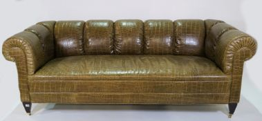 Baker; a green Chesterfield style sofa, with faux crocodile skin leather upholstery,