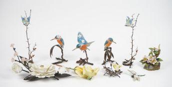 A Boehm porcelain mounted metal floral arrangement, 29cm wide,